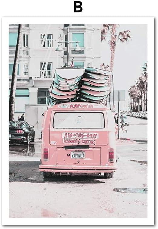 LiMengQi Rosa Van Pickup Playa Tabla de Surf mar Cita Arte Lienzo Pintura Carteles nórdicos e Imprime Cuadros de Pared para la decoración de la Sala de Estar (No Frame): Amazon.es: Hogar