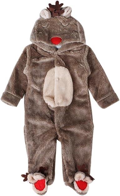 SMARTLADY - Invierno Ciervo Romper Pijama de Bebé Niños Niñas,Cálido Marrón Abrigo con Capucha
