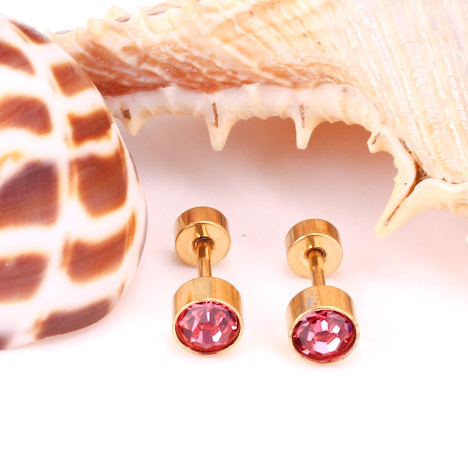 Blue//Red//White//Pink Round Cubic Zirconia Screw Stud Earrings,red crystal,5mm silver