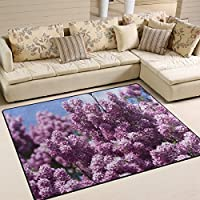 ALAZA Area Rug 7x5 Beautiuful Spring Violet lavender under Sunny Day Non-Slip Floor Mat Carpet for Living Dining Bedroom