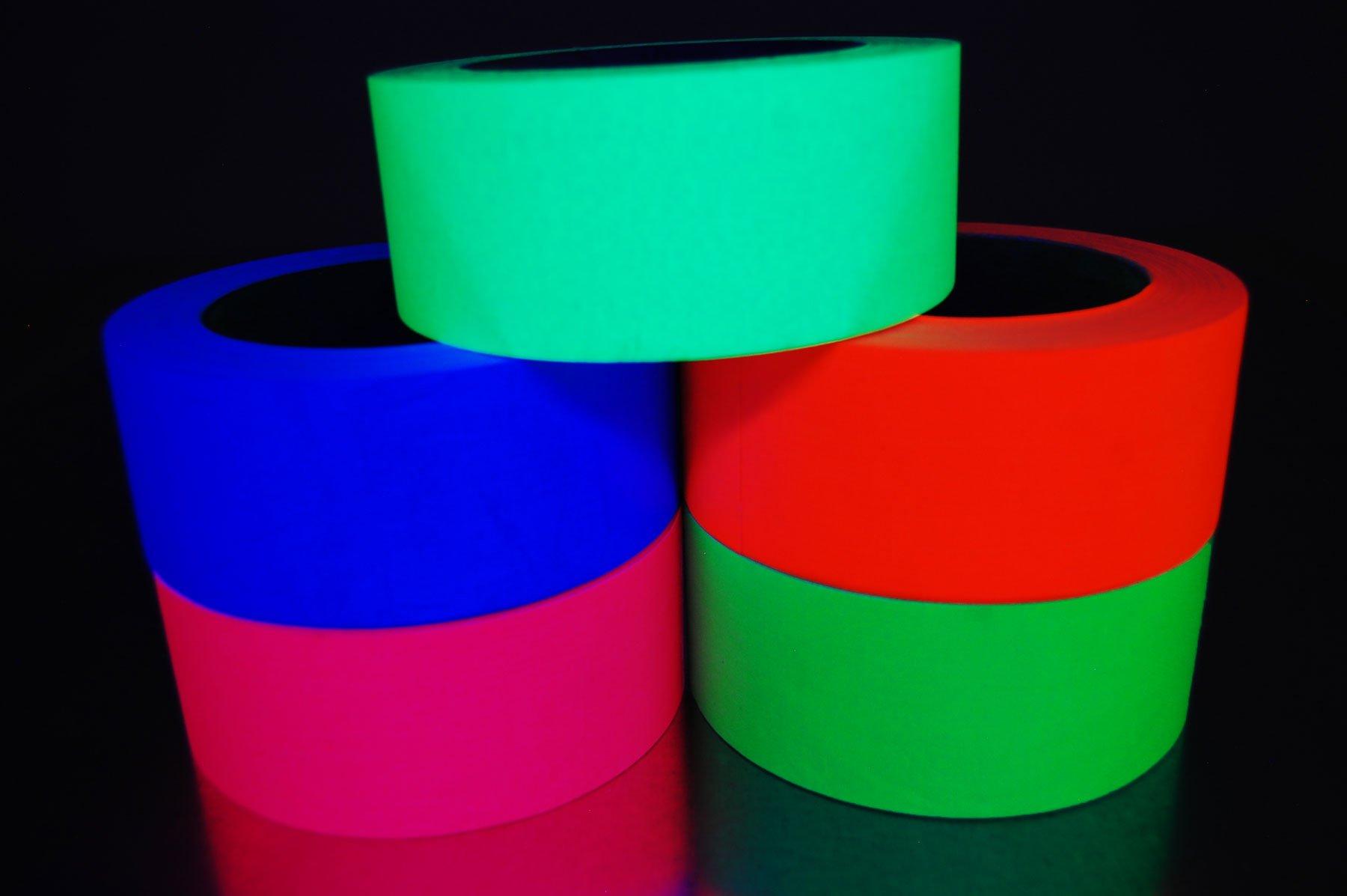 2 Inch x 25 Yards UV Blacklight Reactive Fluorescent Gaffer Tape (5 Pack 5 Rolls x 25 Yards)