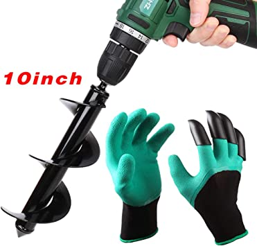 """Auger Drill Bit Garden Plant Flower Bulb Auger 3/"""" x 12/"""" Rapid Planter Post or Umbrella Hole Digger For 3//8/"""" Hex Drive Drill with Garden Small Shovel"""