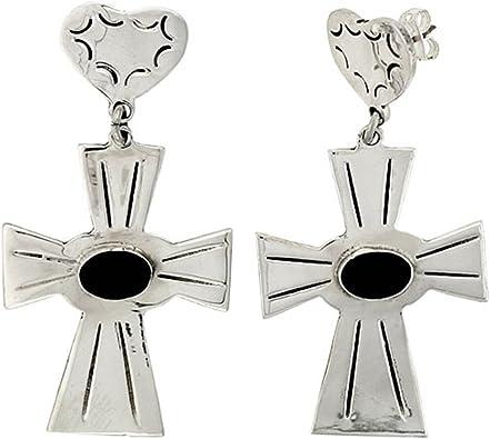 Broche de plata de ley pendientes con diseño de cruz, W/corazón ...