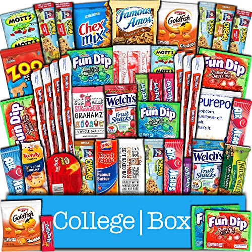 CollegeBox Snacks 45 Count Ultimate Care Package Variety Box Gift Pack Assortment Basket Bundle Mixed Bulk Sampler Treats Bars Chips Candy Cookies College Finals Students Office Trips Summer Camp Boy