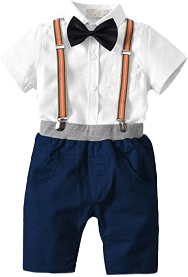 Toddler Kids Baby Boy Gentlemen  Bow Tie Top Shirt Short Sleeve Pants Outfit Set