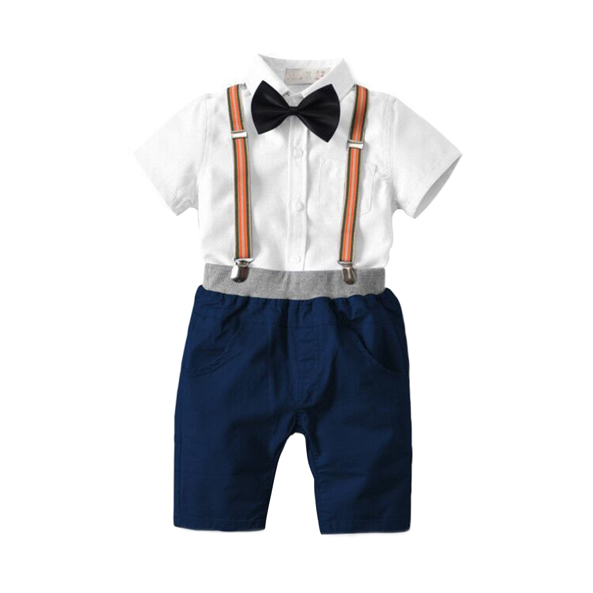 Kid Little Boy Gentleman Outfit Set Short Sleeve Shirt Bow Tie Clothing Set 18M