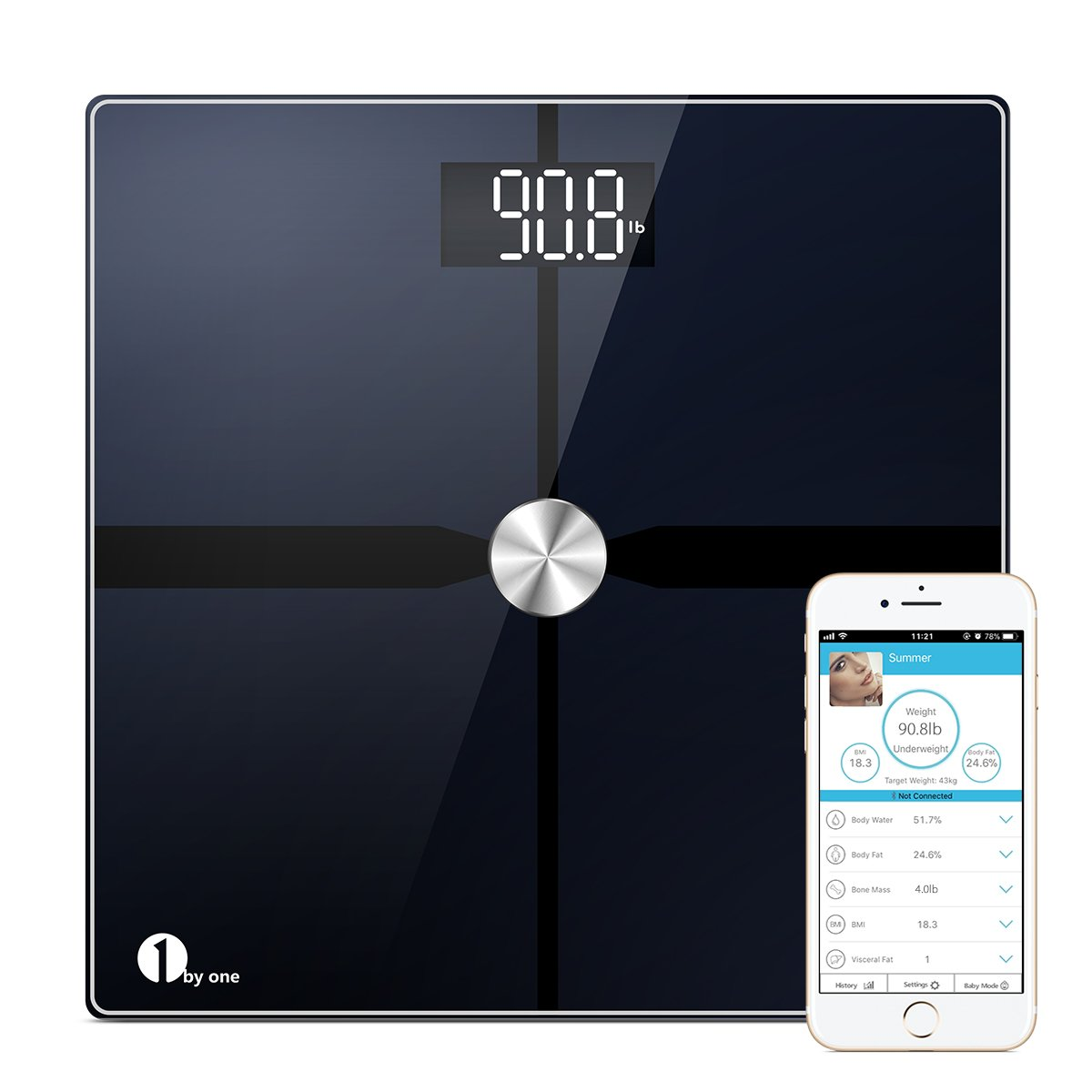 1byone Bluetooth Body Fat Scale with IOS and Android App, Smart Digital Bathroom Weight Scale, Body Composition Analyzer, ITO Conductive Surface Technology - Black