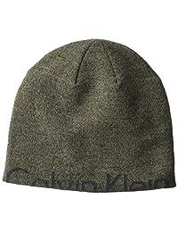 Calvin Klein Unisex Marled Half Logo Winter Hat, Brown, One Size