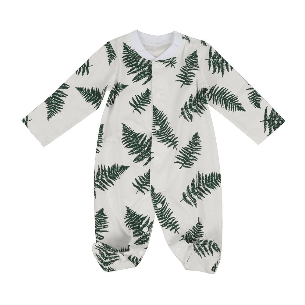 preliked Baby Boy Girl Romper Leaves Print Long Sleeve Jumpsuit Playsuit Outfits