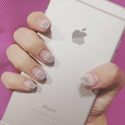 aukmla 24 pcs juego de manicura uñas postizas consejos francés uñas postizas de boda Triángulo Cuadrado