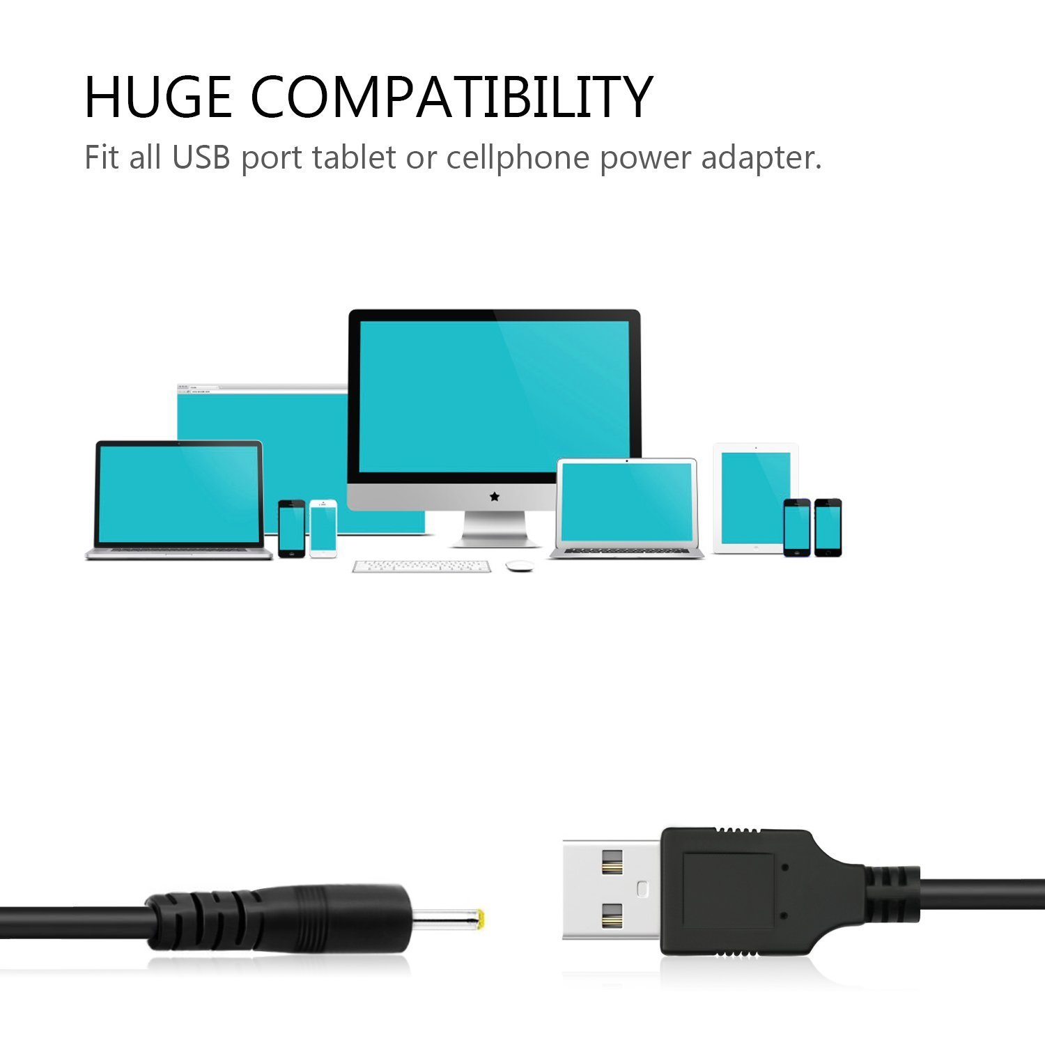 VONOTO Dc 2.5mm Plug/jack USB Charger Lead Charging Cable Cord Power ...