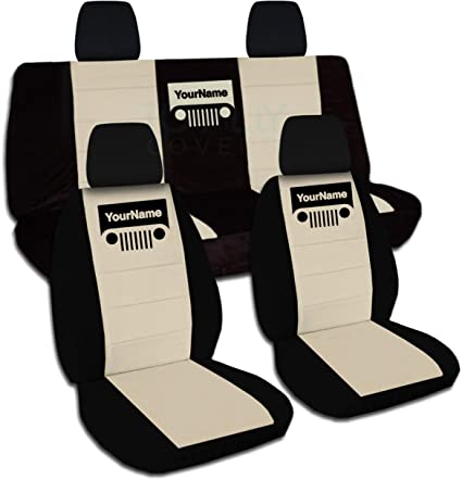 Designcovers Fits 2008 2012 Jeep Liberty Two Tone Grill Seat Covers W Your  Name
