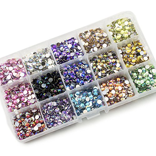Summer-Ray 5mm Flat Back Assorted AB Color Globe Cut Rhinestones In Storage Box Set 1