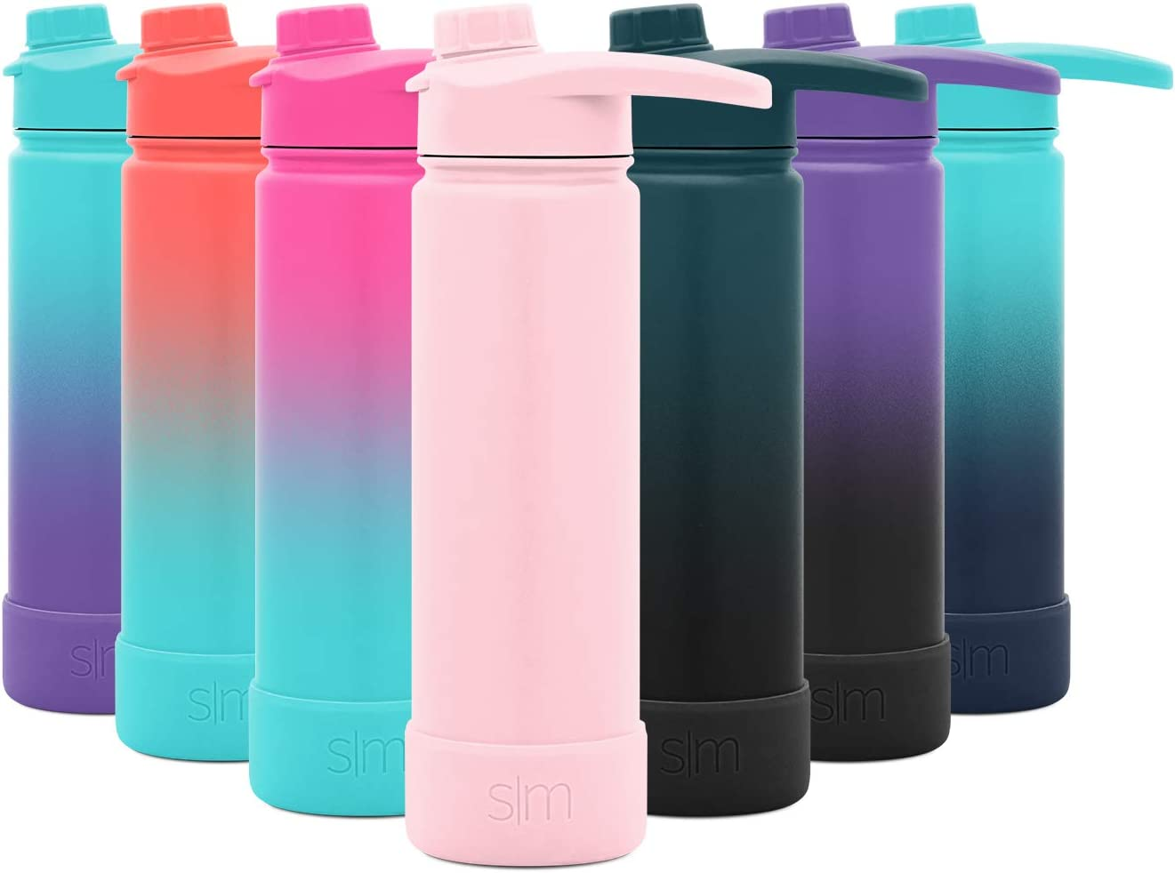 Simple Modern 22 Ounce Summit Water Bottle with Chug Lid & Protective Boot - Hydro Vacuum Insulated Flask 18/8 Stainless -Blush