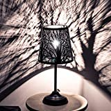SUNFACE 15'' Forest Mini Table Lamp, Metal Hollowed-Out Shade Desk Lamp, Simple Style Night Stand Lamp for Bedroom, Living Room, Coffee Table, Office, Dining Table, Bed Lights (Black)