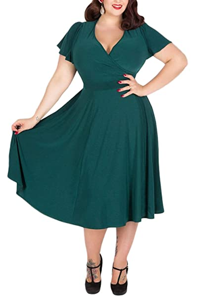 44bccc598026a Nemidor Women s V-Neckline Stretchy Casual Midi Plus Size Bridesmaid Dress  (18
