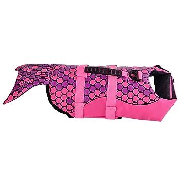 Perros Life Jacket Perros Chaleco Reflectante Perros de Salvavidas Flotador Float Coat Life Preserver, Sirena, Color Rosa: Amazon.es: Productos para ...