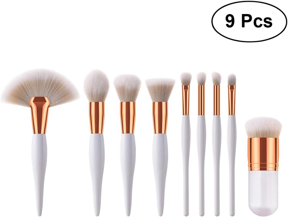 9 unids manija de madera de cerdas de nylon suave cepillo de maquillaje cosméticos kit de cepillo rubor en polvo para la mujer (T-09-015 blanco)