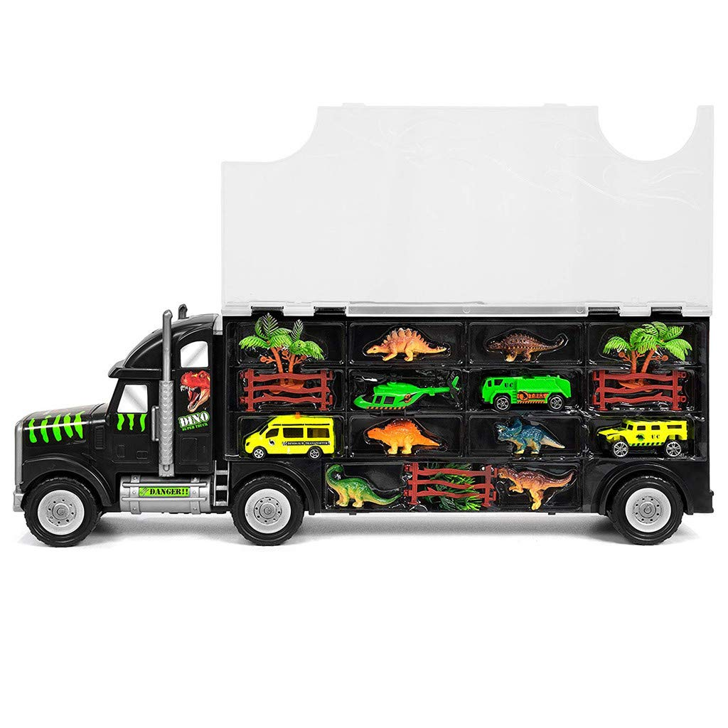Sikye Big Size Transporter Car Dinosaur Transport Carrier 16-Piece Includes 6 Dinosaurs, 3 Cars, 3 Fences, 2 Trees, 1 Bush, and 1 Helicopter by Sikye (Image #1)