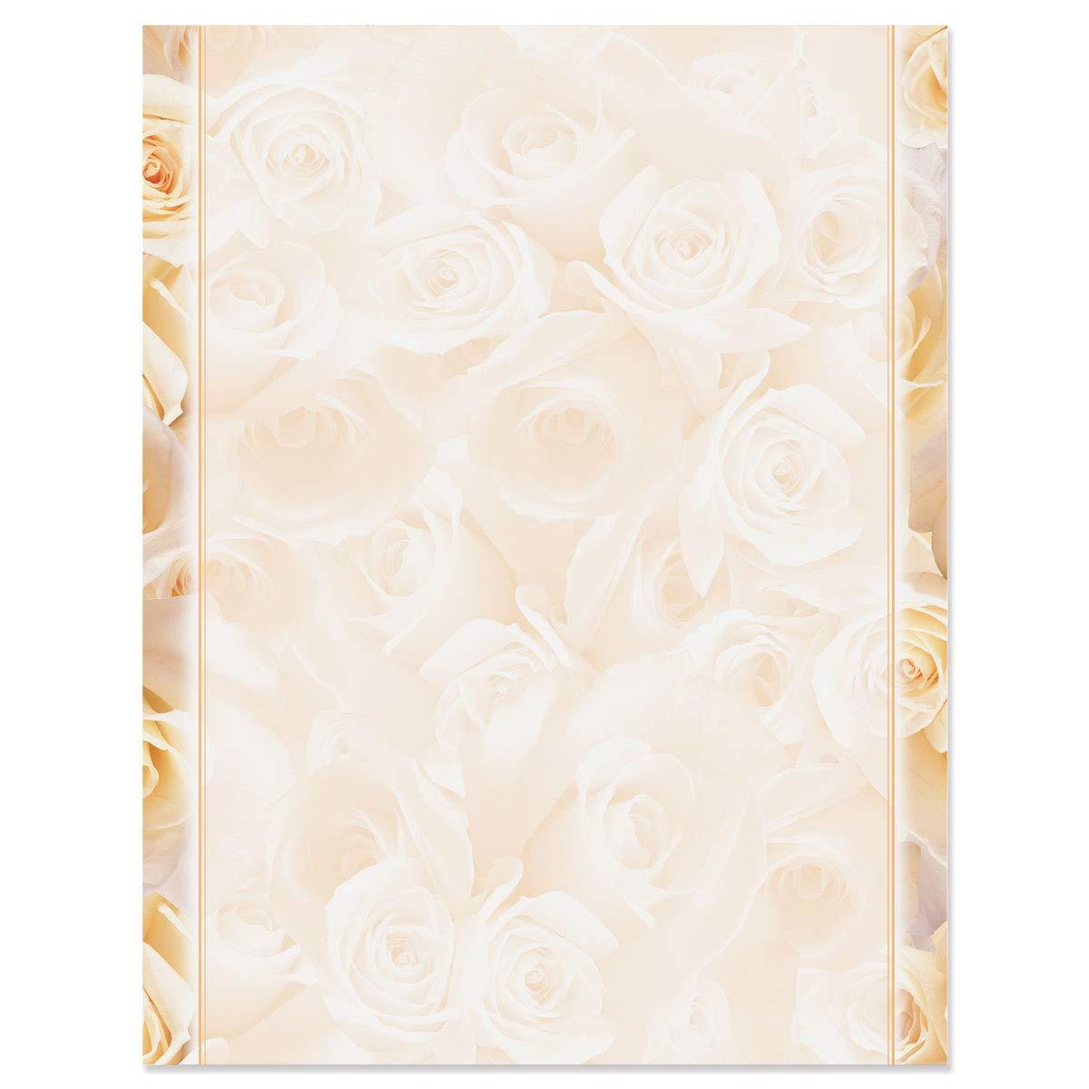 Elegant Cream Roses Letterhead, 100 Count