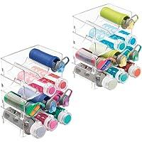 mDesign - Soporte de plástico para botellas de agua, apilable, vertical, organizador de almacenamiento para encimeras de…