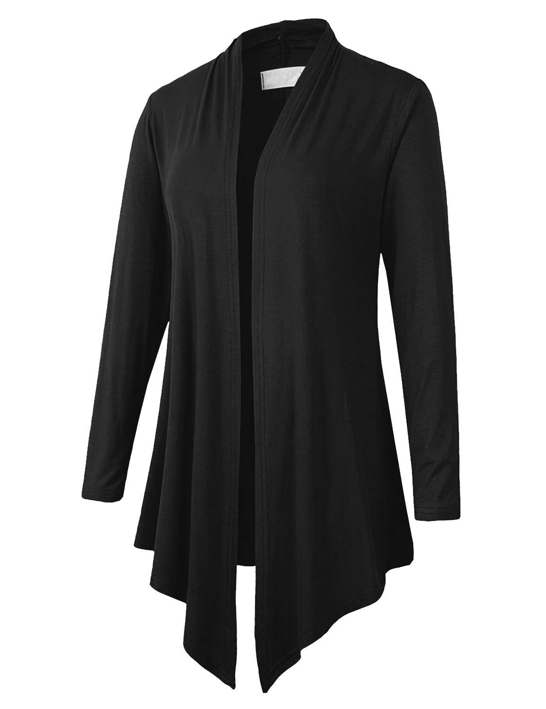 Eanklosco Women\'s Long Sleeve Drape Open-Front Cardigan Light Weight Irregular Hem Casual Tops (2XL, Black)