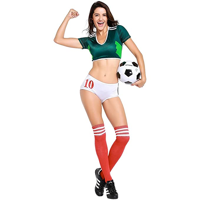 093df8651 Image Unavailable. Image not available for. Color  Cheerleading Uniform for Womens  Sexy Football Short Sleeve Shirt Sets Cosplay Costume