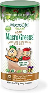 MacroLife Naturals Macro Coco Greens Drink Mix for Kids - All Natural Green Superfood with 3.5 Billion Probiotics & Enzymes to Aid Digestion & Support Immune - Gluten Free & Vegan Ingredients