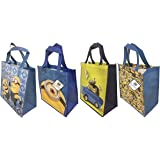 Minions Reusable Tote Bags for Kids, Teens, and Adults! (4-Pack Minion Variety)