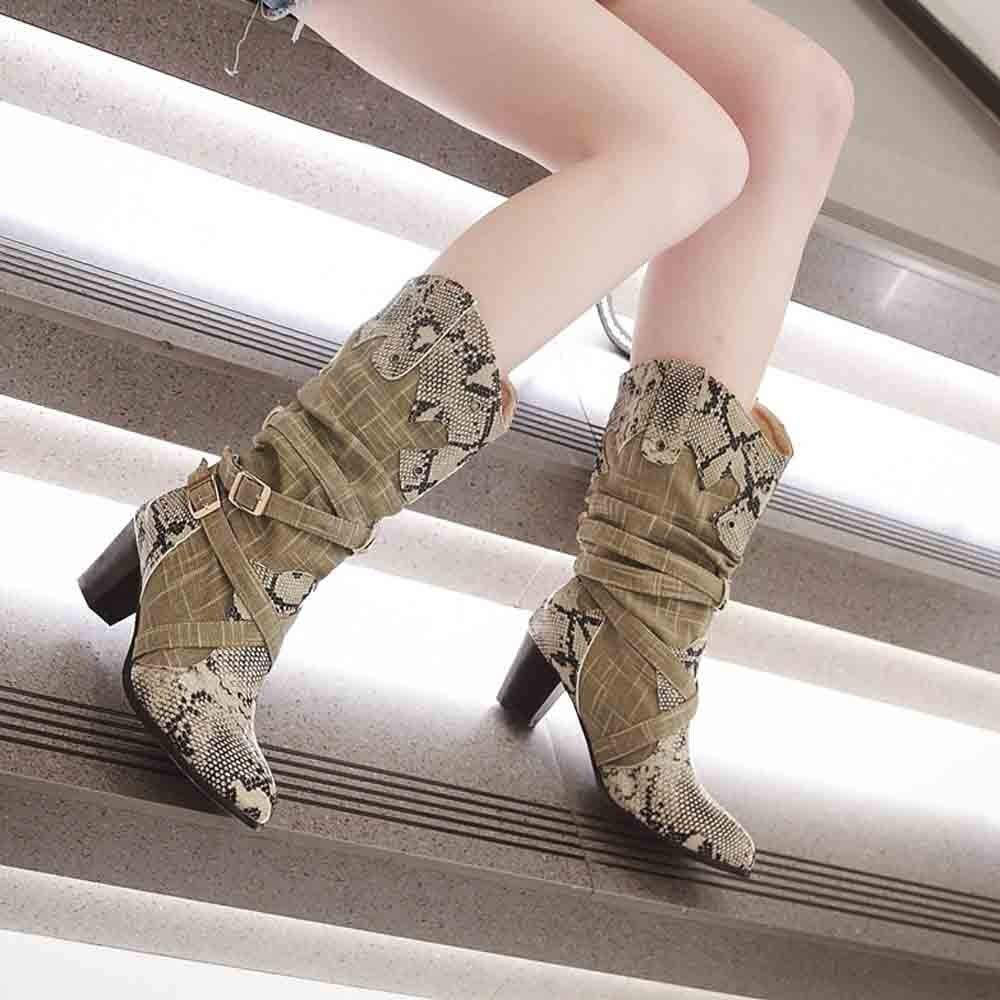 11ee211dd LuckyGirls Botas para Mujer Botas de Nieve de Media Caña Patrón de la Serpiente  Patchwork Hebilla Cruzado Botitas Botín Moda Zapatos de Tacón 6cm  ...