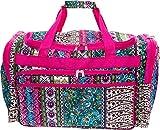 SilverHooks Women's 22'' Printed Duffel Bag (Boho w/Pink Trim)