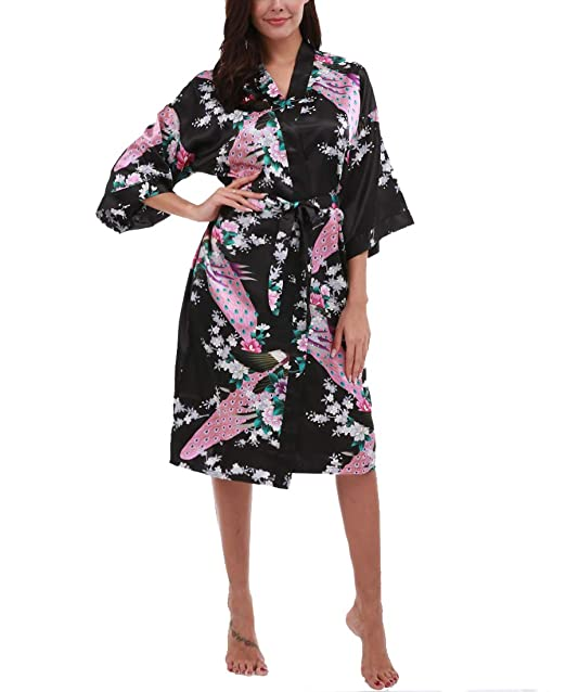 FISOUL Women s Satin Kimono Robe Floral Printed Bathrobe Loungewear with  Belt (Black ... de066e7f7