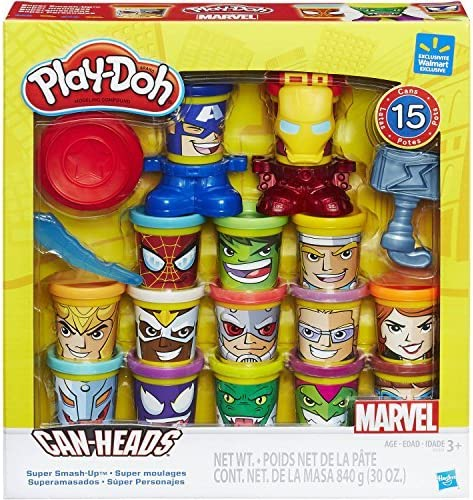 EXCLUSIVE Play-Doh Marvel Super Smash-Up with Can-Heads - 15 Favorite Marvel Super Heroes and Villains Reimagined as Play-Doh Cans
