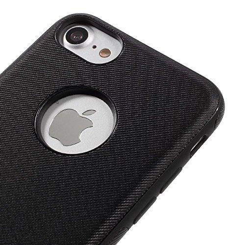FSHANG Twill Texture Leather Coated TPU Tasche Hüllen Schutzhülle Case für iPhone 7 4.7 inch with Built-in Iron Sheet - schwarz