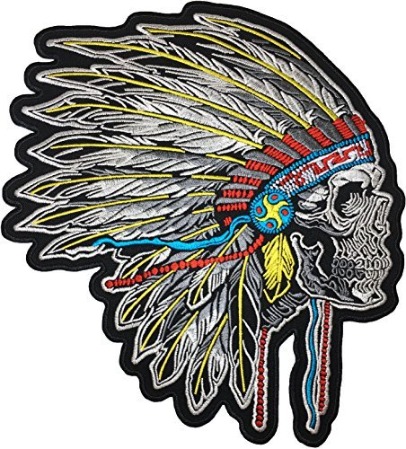 [Large Size] Papapatch Feathered Indian Chief Head Death Skull Biker Motorcycle Jacket Vest Embroidered Sew on Iron on Patch (IRON-FEATHER-INDIAN-03-LARGE) ()