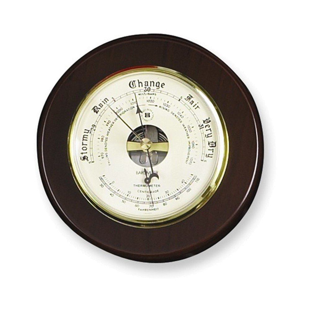 Cherry Wood Barometer and Thermometer by Jewelry Adviser Gifts