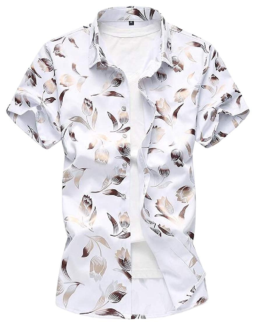 Macondoo Mens Casual Short Sleeve Floral Print Button Down Shirts