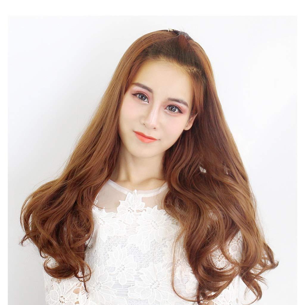 Amazon.com : Womens Long Curly Hair Wig, Air Bangs Natural ...