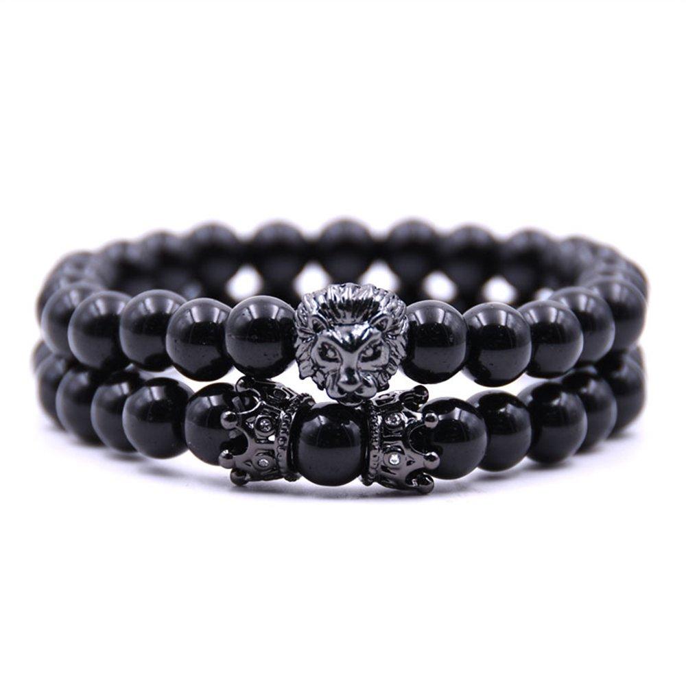 Joan Nunu Handmade 8mm Stone Beads Bracelets Set Black King Crown Tiger Charm Fashion jewelry for Men Women