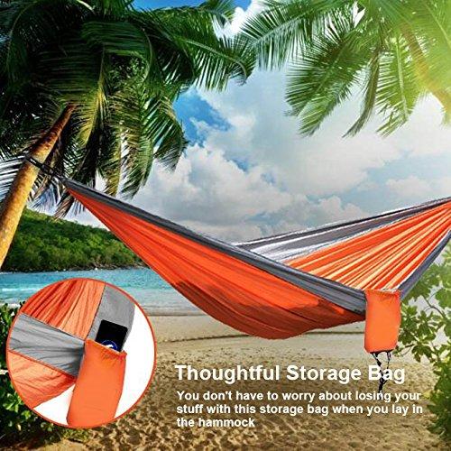 Wolfyok Portable Camping Hammock [3rd Generation] (TM) Multifunctional Lightweight Nylon Parachute Outdoor Hammock for Backpacking, Camping, Travel, Beach, Backyard (Single,Orange/Gray)