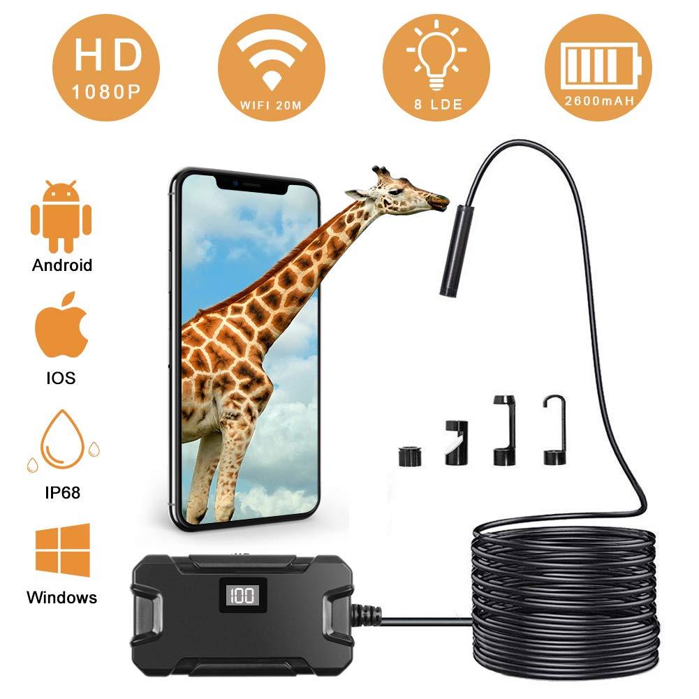 WiFi Endoskop 1200P HD wasserdichte 10M Halbsteife Kabel Boreskope Schlange Kamera f/ür Android und IOS Smartphone Windows iPhone