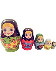 MagiDeal 5PCS Painted Girls Wooden Russian Nesting Dolls Babushka Matryoshka Toys