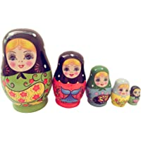 Dolity High Quality 5Pcs Wooden Russian Nesting Doll Babushka Matryoshka Set Hand Painted Toys Gifts