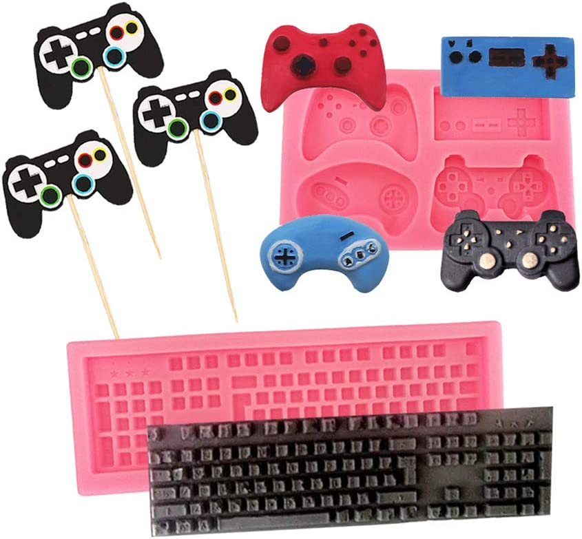 Game Controller Molds Keyboard Mini Video Gamepad Shapes Silicone Mold For Fondant Candy Chocolate Pudding Soap Making Cake Muffin DIY Game Theme Party Decor Supplies Include 3Pcs Cupcake Toppers