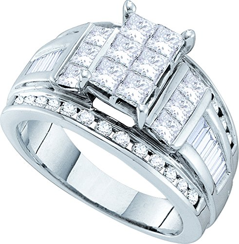 Jewel Tie Size - 5-14k White Gold Princess Cut Round Baguette Diamond Fashion Band OR Engagement Ring Invisible Set Emerald-Shape Shaped Ring (1.0 cttw.)