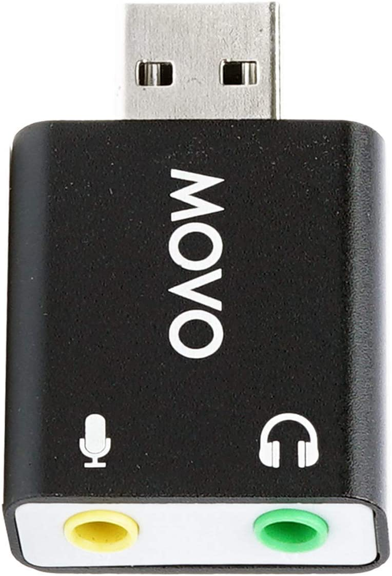 Movo USB-AC 3.5mm TRS Microphone to USB 2.0 Stereo Audio External Sound Card Adapter for PC and Mac. USB Sound Card Adapter for Computer or Laptop Convert USB Input to 3.5mm TRS Headphone or Mic Jack