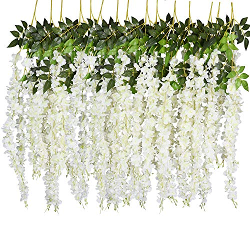 DearHouse 6 Pack 3.75 Feet/Piece Artificial Fake Wisteria Vine Ratta Hanging Garland Silk Flowers String Home Party Wedding Decor (6PCS-Large White Wisteria) from DearHouse