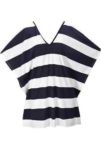 Cuello de las mujeres V manga corta batwing rayas vendaje camiseta