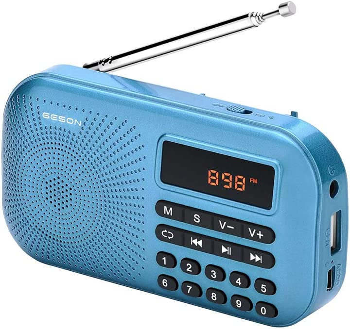 GESON RM-155Pro AM FM Radio Portable Mini USB Speaker MP3 Music Player SupportMicro SD/TF Auto Scan Save LED Display USB Transmit Data and Sound Card Function, Rechargeable BL-5C Battery (Blue)