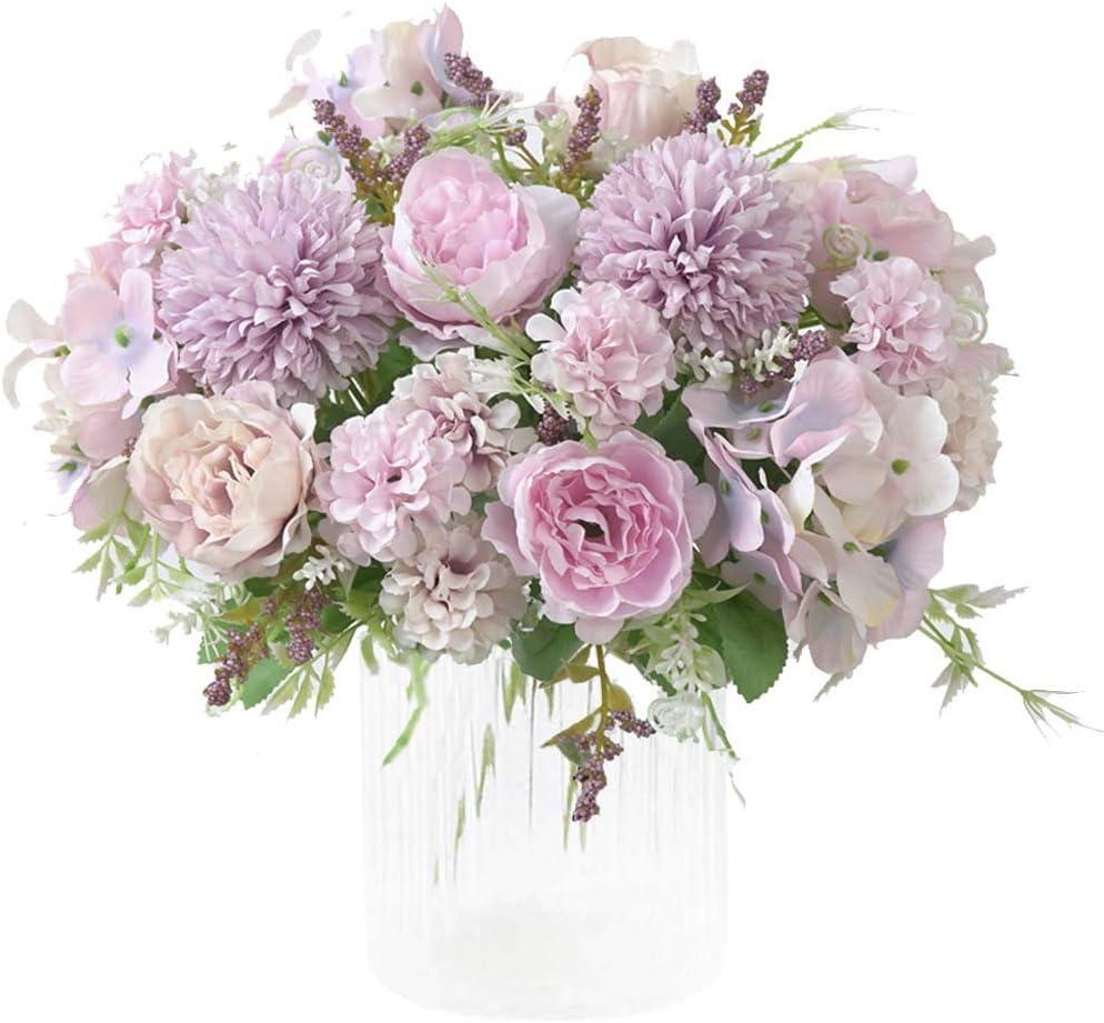 KIRIFLY Ramo de Flores Artificiales de Seda de peonía Falsa, decoración de Flores de plástico con claveles realistas para decoración de Bodas, centros de Mesa, 2 Paquetes